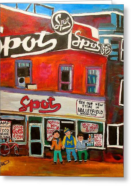 Spot Supermarket Lachine 1950's Greeting Card by Michael Litvack