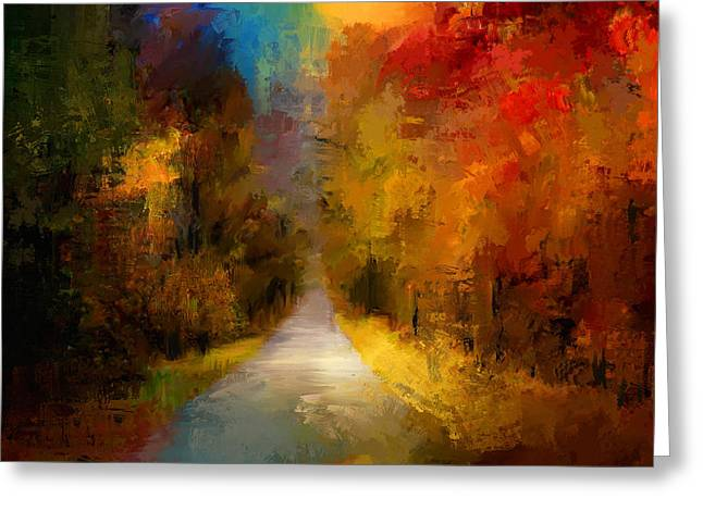 Nature Scene Paintings Greeting Cards - Spotlight On Autumn Greeting Card by Jai Johnson