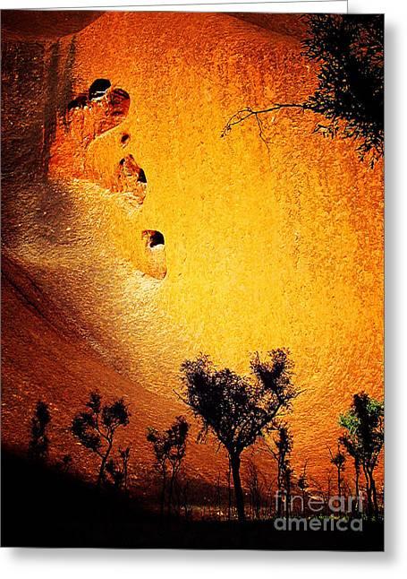 Recently Sold -  - Monolith Greeting Cards - Spotlight on Uluru Greeting Card by Steve C Heckman