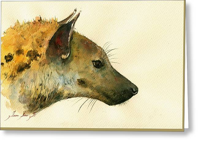 Safari Prints Greeting Cards - Spotted hyena animal art Greeting Card by Juan  Bosco