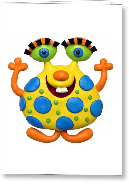 Babys Greeting Cards - Spotted Yellow Monster Greeting Card by Amy Vangsgard