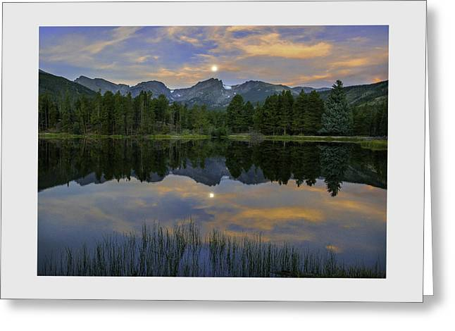 Sprague Lake Dawn Under A Sturgeon Moon Greeting Card by Thomas Schoeller