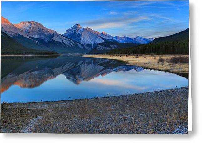 Spray Lake Last Light Greeting Card by Adam Jewell