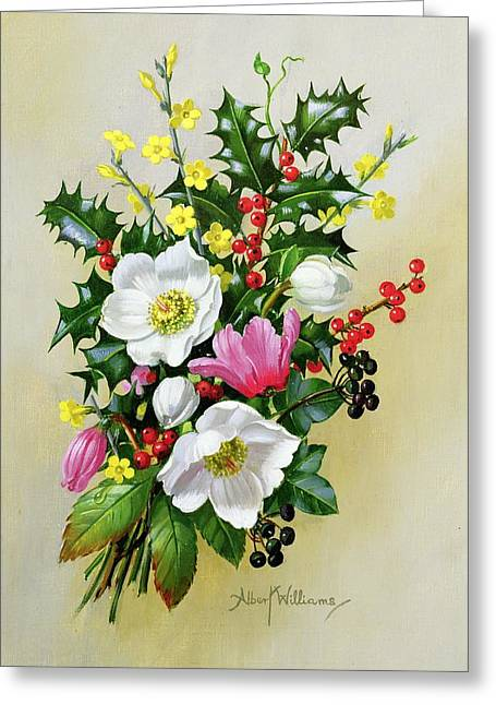 Larkspur Greeting Cards - Spray of Dogrose Holly Mistletoe and Larkspur Greeting Card by Albert Williams