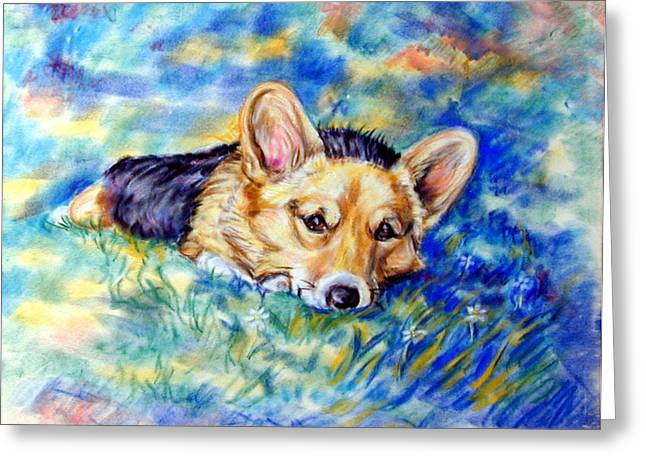 Puppies Greeting Cards - Spring - Pembroke Welsh Corgi Greeting Card by Lyn Cook