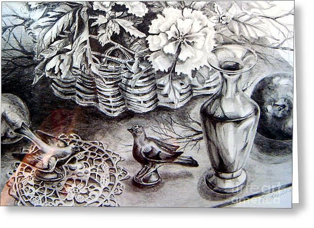 Vase Of Flowers Drawings Greeting Cards - Spring Arrangemnt Greeting Card by Linda Shackelford