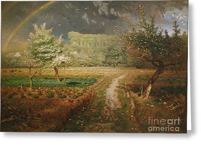 Francois Paintings Greeting Cards - Spring at Barbizon Greeting Card by Jean Francois Millet