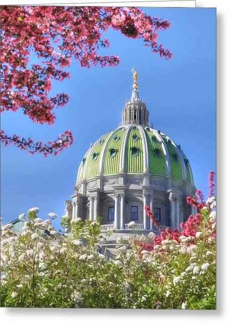 Capitol Flowers Greeting Cards - Spring at the Capitol Greeting Card by Lori Deiter