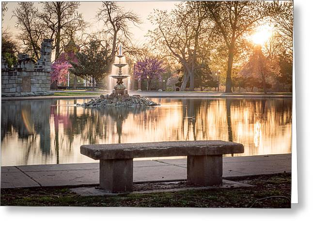 Pond In Park Greeting Cards - Spring at the Fountain Pond Greeting Card by Scott Rackers
