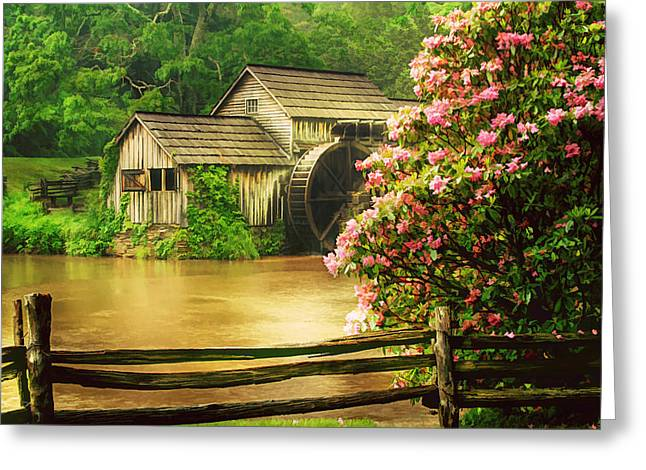 Reminiscent Greeting Cards - Spring at the Mill Greeting Card by Darren Fisher