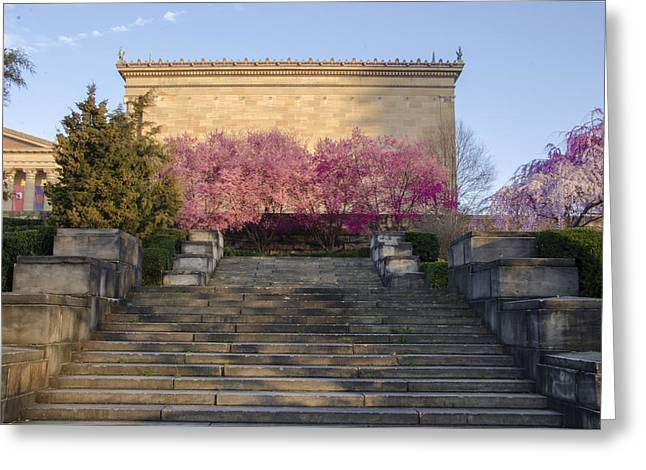 Spring At The Philadelphia Art Museum Greeting Card by Bill Cannon