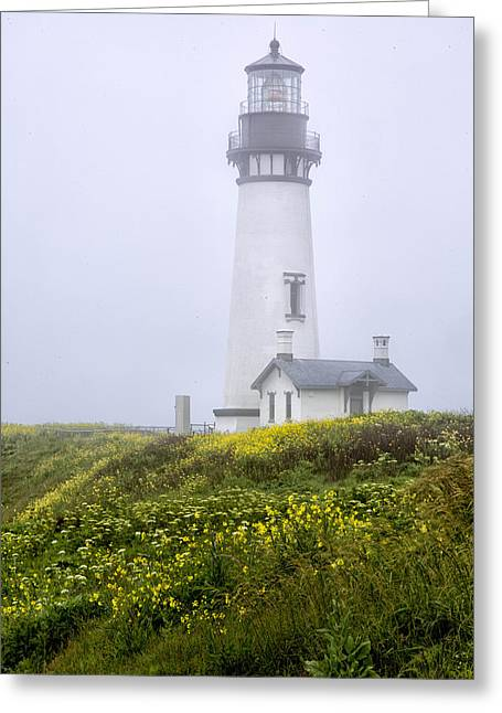 Foggy Ocean Greeting Cards - Spring at Yakina Head Lighthouse Greeting Card by Anita Oakley