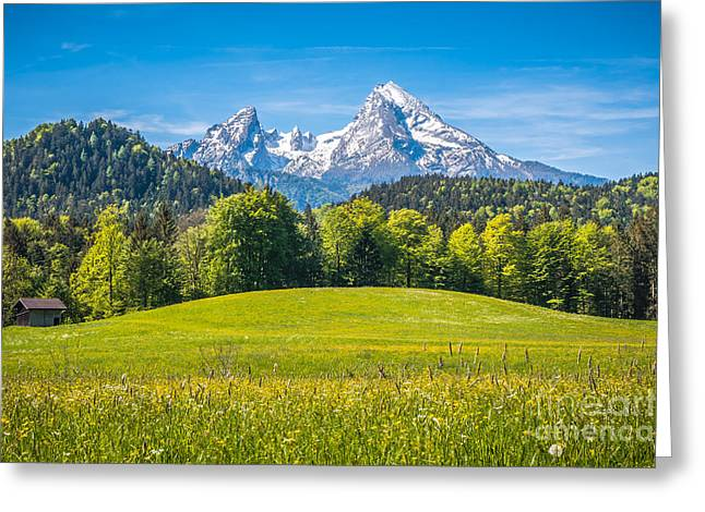 Spring Awakening In Blooming Mountain Fields Greeting Card by JR Photography