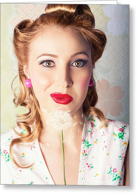Natural Makeup Greeting Cards - Spring Beauty. Beautiful Retro Girl Blowing Flower Greeting Card by Ryan Jorgensen