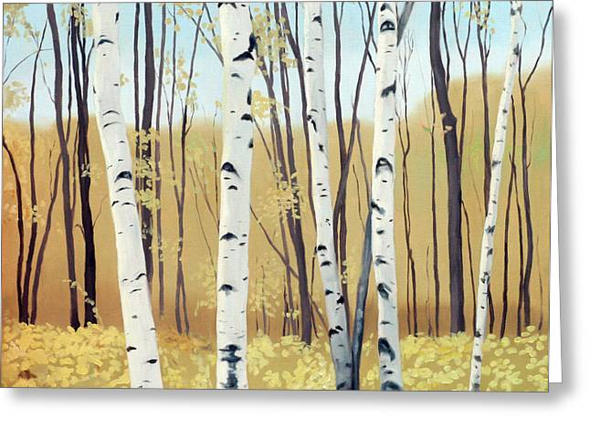 Birch Tree Greeting Cards - Spring Birches Greeting Card by Linda Tenukas