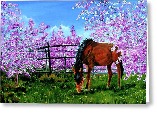 Cherry Blossoms Paintings Greeting Cards - Spring Blossom Greeting Card by Inna Montano