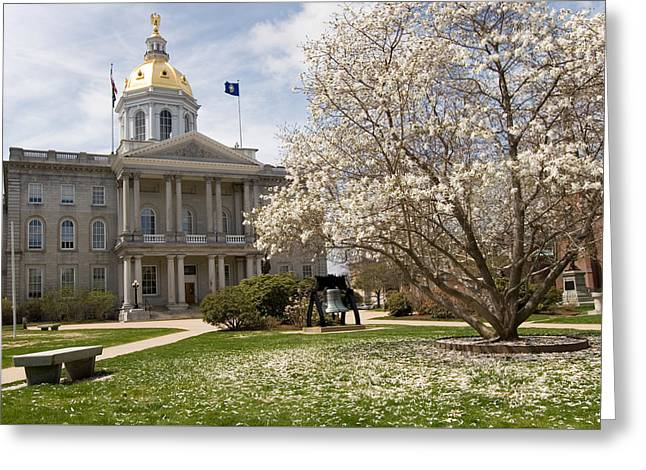 Concord Greeting Cards - Spring Blossom New Hampshire State House Greeting Card by Tony  Westbrook
