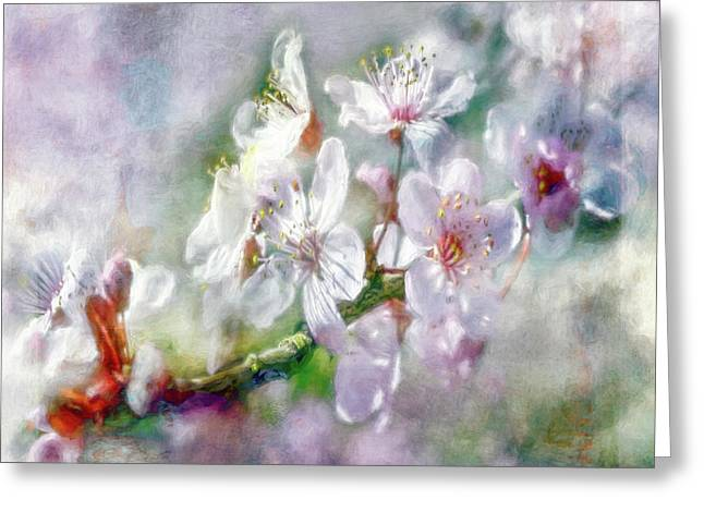 Close Focus Floral Greeting Cards - Spring Blossoms Greeting Card by Jean OKeeffe Macro Abundance Art