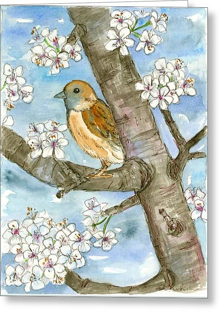 Plum Drawings Greeting Cards - Spring Blossoms Sparrow Greeting Card by Cathie Richardson