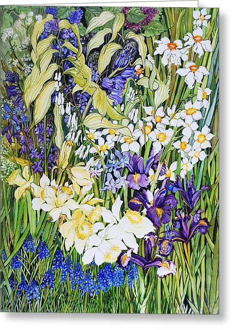 Spring Border Greeting Card by Joan Thewsey