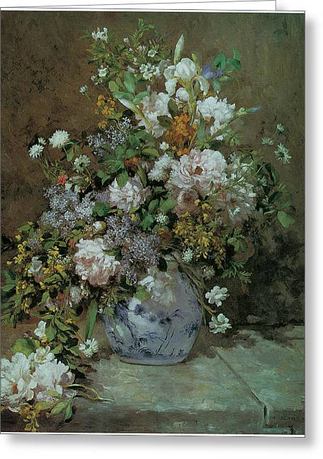 Lilac Flower Greeting Cards - Spring Bouquet Greeting Card by Pierre-Auguste Renoir