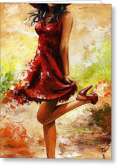 Spring Dresses Greeting Cards - Spring breeze Greeting Card by Emerico Imre Toth