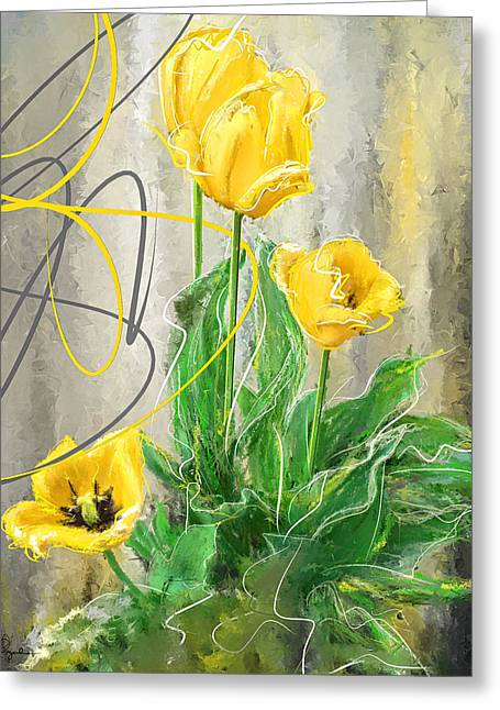 Lemon Art Greeting Cards - Spring Bulbs Greeting Card by Lourry Legarde