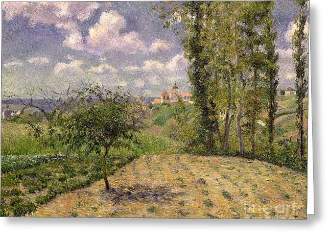 Rolling Hills Greeting Cards - Spring Greeting Card by Camille Pissarro