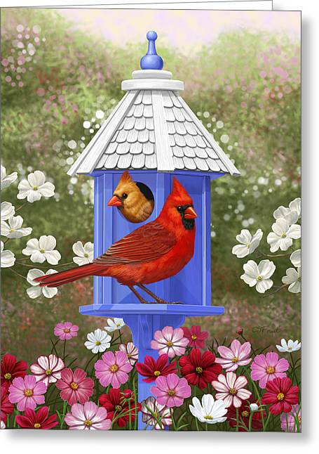 Birds And Flowers Greeting Cards - Spring Cardinals Greeting Card by Crista Forest