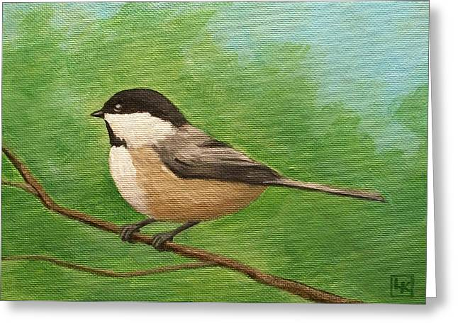 Spring Chickadee Greeting Card by Lisa Kretchman