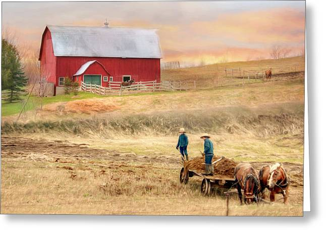 Amish Farms Mixed Media Greeting Cards - Spring Chores Greeting Card by Lori Deiter
