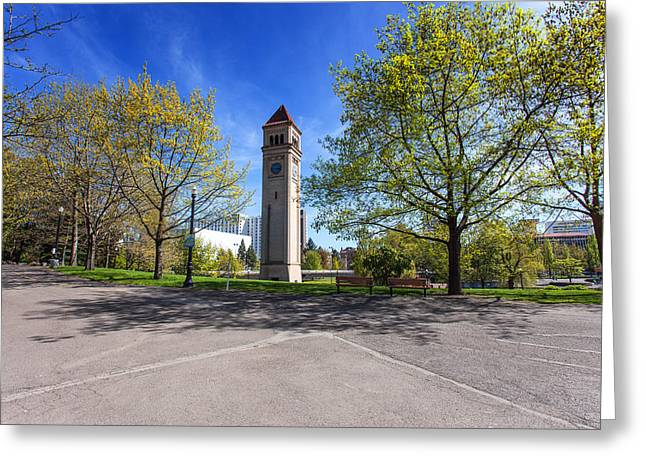 Spokane Greeting Cards - Spring Clock Tower Greeting Card by Craig Smith