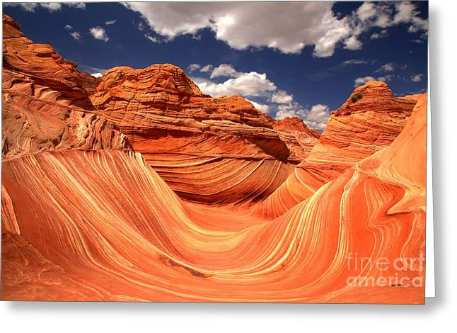 The Plateaus Greeting Cards - Spring Clouds Over The Wave Greeting Card by Adam Jewell