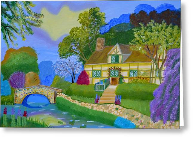 Spring Cottage Greeting Card by Magdalena Frohnsdorff
