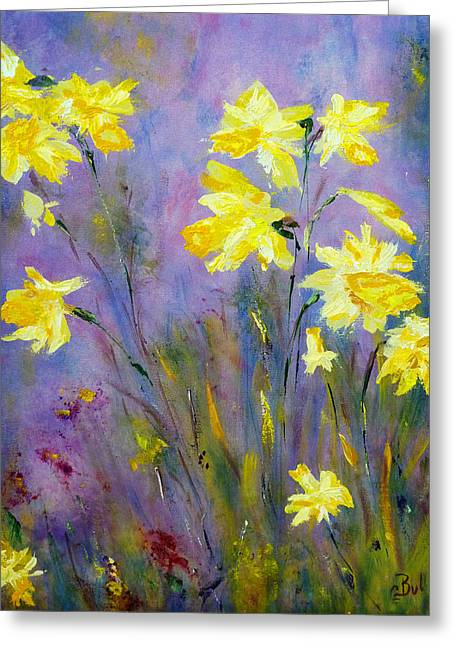 Claire Bull Greeting Cards - Spring Daffodils Greeting Card by Claire Bull