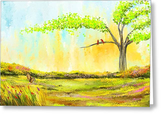 Turquoise And Red Greeting Cards - Spring Day - Spring Paintings Greeting Card by Lourry Legarde