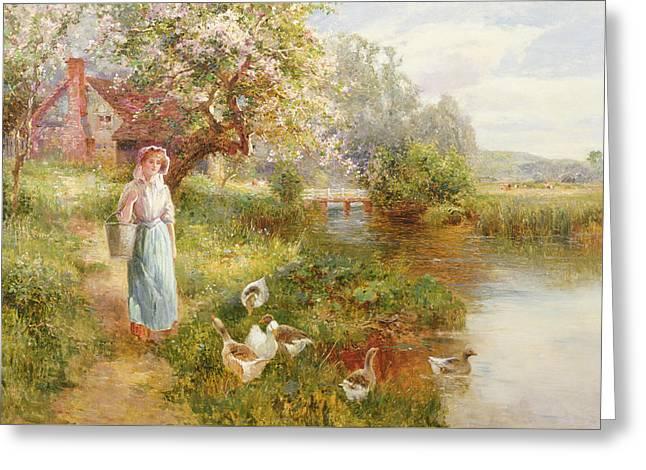 River View Greeting Cards - Spring Greeting Card by Ernest Walbourn
