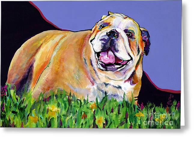 English Bulldog Portrait Greeting Cards - Spring Fever Greeting Card by Pat Saunders-White