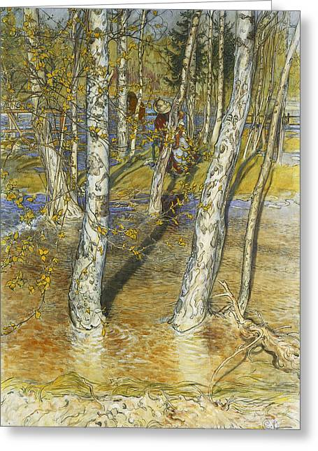 Spring Floods Drawings Greeting Cards - Spring Flood Greeting Card by Carl Larsson