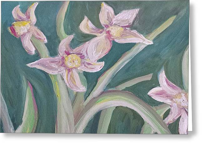 Purlple Greeting Cards - Spring Flowers Greeting Card by Cherie Sexsmith