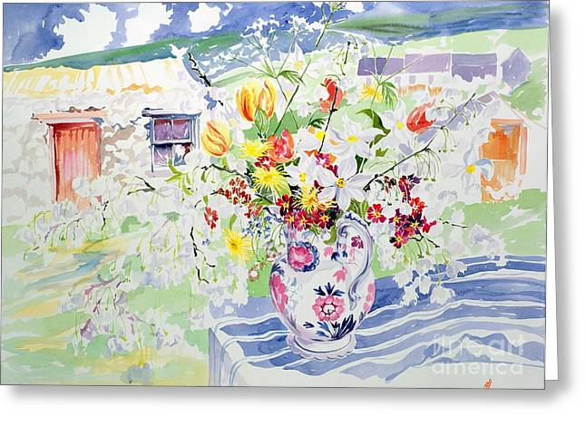 Water Jug Greeting Cards - Spring Flowers on the Island Greeting Card by Elizabeth Jane Lloyd