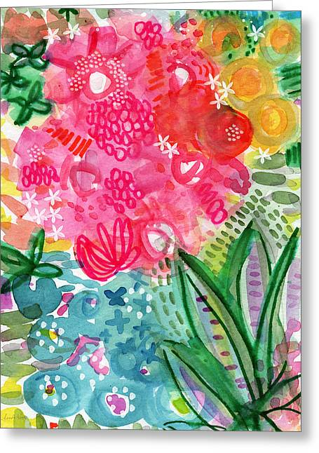 Red Leaves Mixed Media Greeting Cards - Spring Garden- watercolor art Greeting Card by Linda Woods