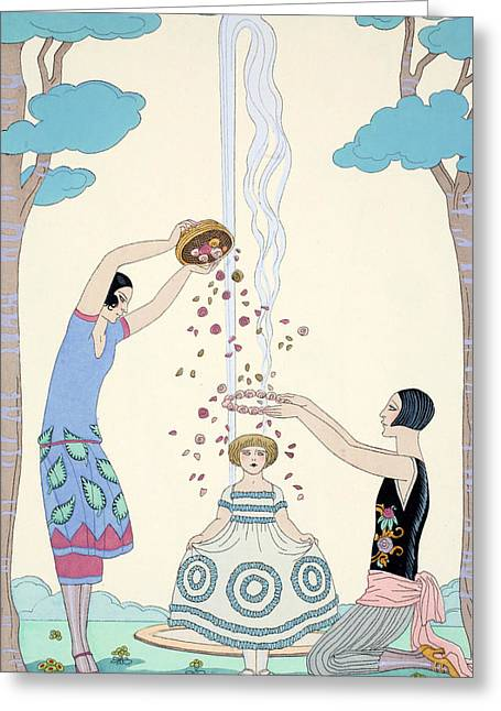 Beaux-arts Greeting Cards - Spring Greeting Card by Georges Barbier