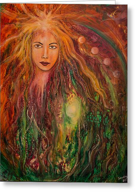 Empowerment Greeting Cards - Spring Goddess Greeting Card by Solveig Katrin