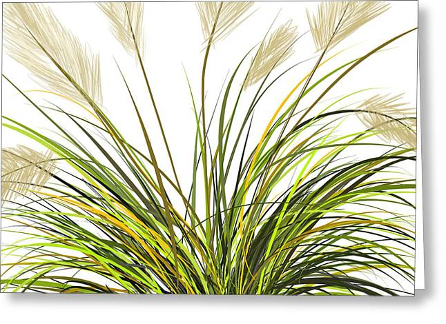 Green Abstract Greeting Cards - Spring Grass Greeting Card by Lourry Legarde