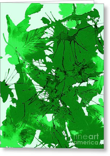 Splashy Paintings Greeting Cards - Spring Green Explosion - Abstract Greeting Card by Ellen Levinson