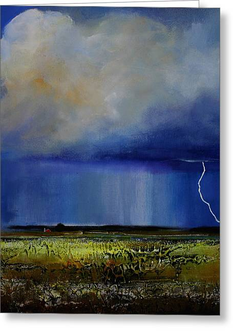 Thunderstorm Paintings Greeting Cards - Spring Green Pastures  Greeting Card by Toni Grote
