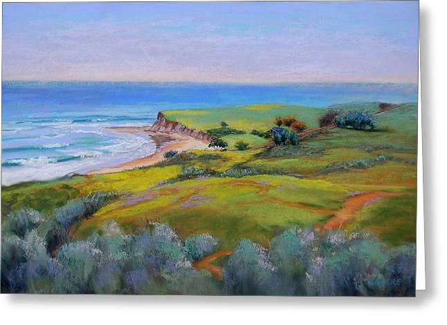 Cliffs Pastels Greeting Cards - Spring Greens at Bulito Greeting Card by Lynee Sapere