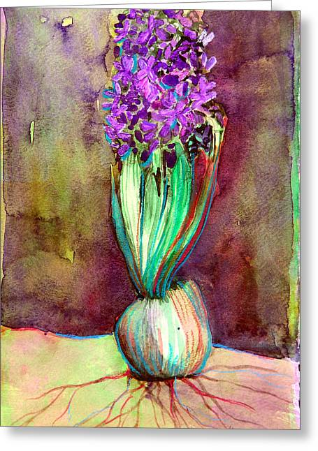Spring Bulbs Mixed Media Greeting Cards - Spring Hyacinth Greeting Card by Mindy Newman