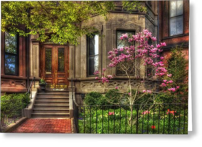 Spring In Boston - Back Bay Greeting Card by Joann Vitali